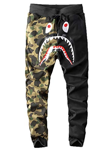 Capturelove Junior Boy Camouflage Sweatpants Shark Head Lightweight Athletic Pants - 27W x 25L