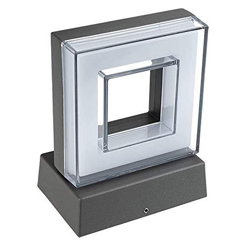 Hochwertige graue LED Wandleuchte 6W - IP54 - Für den Innen- und Außenbereich - grau /anthrazit - flacher aufbauend - Warmweiß 3000K - 660lm