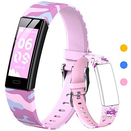 HOFIT Pulsera Actividad para Niños, Reloj Inteligente con Podómetros, Monitor de Frecuencia Cardíaca y Sueño, Cronómetro, Ip68 Resistente Pulsera Deportiva, Smartwatch con 2 Pulseras (Rosado-A)