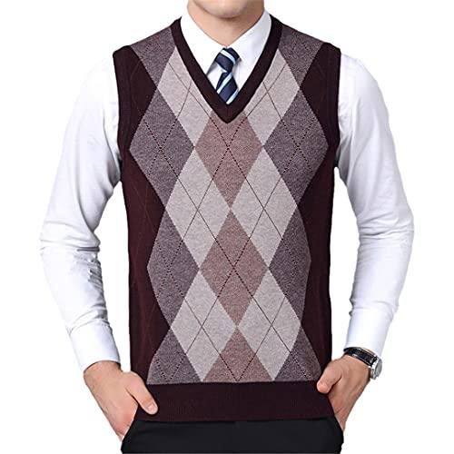 wkd-thvb Mens Jerséis cuello en V slim fit jumpers punto sin mangas otoño casual hombres ropa, Salsas Rojo,...