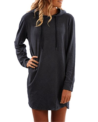 SUNNYME Damen Hoodies Pullover Langarm Jacke Top Sweatshirt Laple Knopf Jumper Dunkelgrau XL