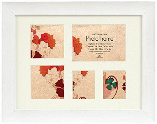 Innova Editions 15 x 10 cm en Bois Massif Style rétro Multi Photos-Cadre Photo pour 4 Photos 10 x 15 cm Blanc, Bois Dense, Retro White, Multi-Aperture 5 Photos