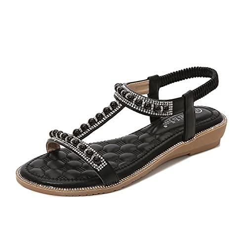 BIBOKAOKE Sandales plates pour femme - Grandes tailles - Avec strass - Bohemia - Avec sangle en T - Semelles souples - Chaussures d été - Élastique - Élégantes - Chaussures de plage