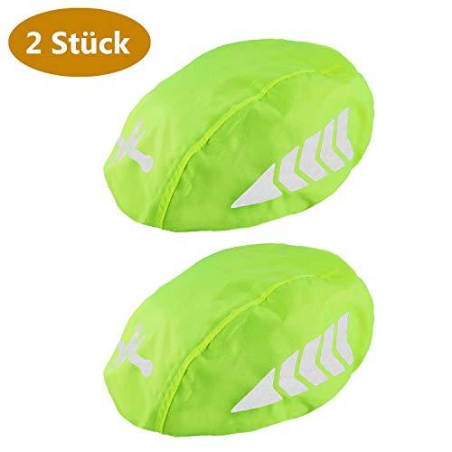 Frelaxy Fahrradhelm Regenüberzug Helm Cover, Wasserschutz Regenschutz für Fahrradhelm mit 360° Rund-Um-Reflektoren & Einstellbarer Gummizug