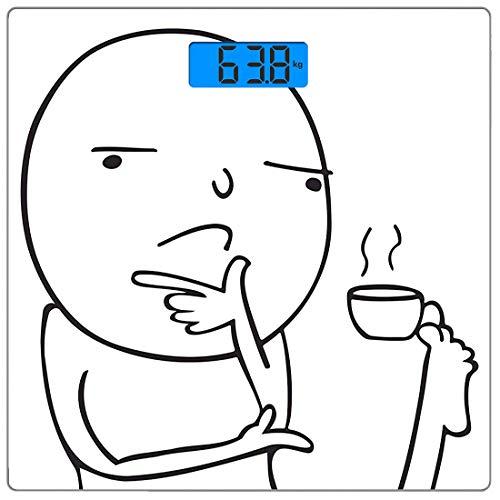 Digitale Präzisionswaage für das Körpergewicht Platz Humor Ultra dünne ausgeglichenes Glas-Badezimmerwaage-genaue Gewichts-Maße,Nachdenklich Meme trinkt Kaffee mit seinen Füßen Warum Icon Moody Day Ar