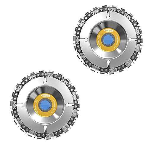"""2Pcs Angle Grinder Saw Blade Tools, 4 in Grinder Disc 22-Teeth Steel Chainsaw Blade Wood Carving Disc for Cutting and Shaping, 5/8"""" Arbor, Fits 4"""" or 4-1/2"""" Angle Grinders"""
