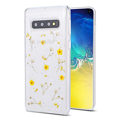 Galaxy S9 Flower Case, Shinymore Soft Clear Flexible Rubber Pressed Dry Real Flowers Case Girls Glitter Floral Cover for Samsung Galaxy S9 -Yellow