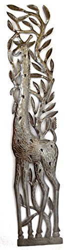 Giraffe, Large Tropical Decorative Wall Hanging Plaques, Handmade in Haiti from Recycled Steel Barrels, 6.5 x 32 Inches