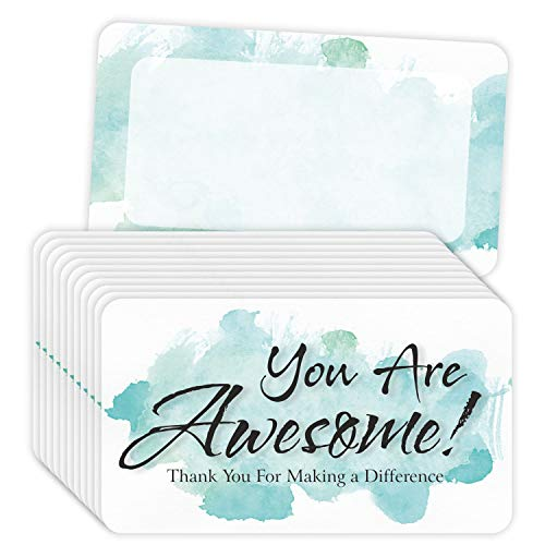 """You are Awesome Cards - (Pack of 100) 3.5"""" x 2"""" Appreciation Thank You Note Kindness Cards - Watercolor Blue"""