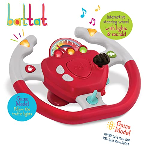 Battat - Geared to Steer Interactive Driving Wheel - Portable Pretend Play Toy Steering Wheel for Kids 2 years +, Red (BT2525Z)