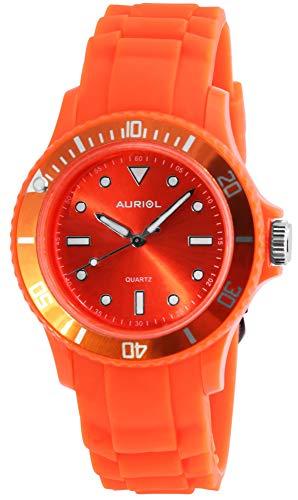 Auriol Zegarek damski zegarek męski pomarańczowy analogowy tworzywo sztuczne silikon kwarcowy unisex zegarek na rękę
