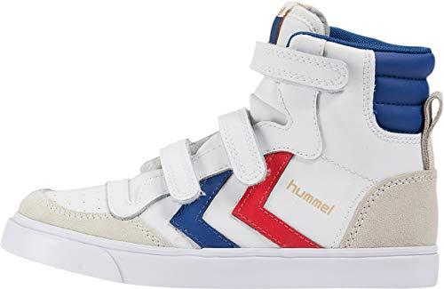 Hummel Unisex-Kinder Stadil JR Leather High-Top, Weiß (White/Blue/Red/Gum), 36 EU
