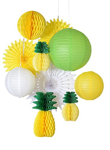 Paperjazz Summer Party Honeycomb Pineapple Ball Tropical Hawaiian Party Festival Paper Lantern Paper Fan Decoration