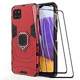 GOGME Funda para Samsung Galaxy A22 5G y 2 Piezas Cristal Templado, Shockproof Carcasa con 360 Grados Giratorio Anillo Kickstand, Hard PC y Silicona TPU Hybrid Armor Case. Rojo