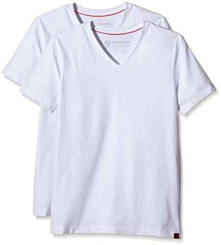 Strellson Bodywear Herren T-Shirt 2er Pack Unterhemd, Weiß (White 10), X-Large