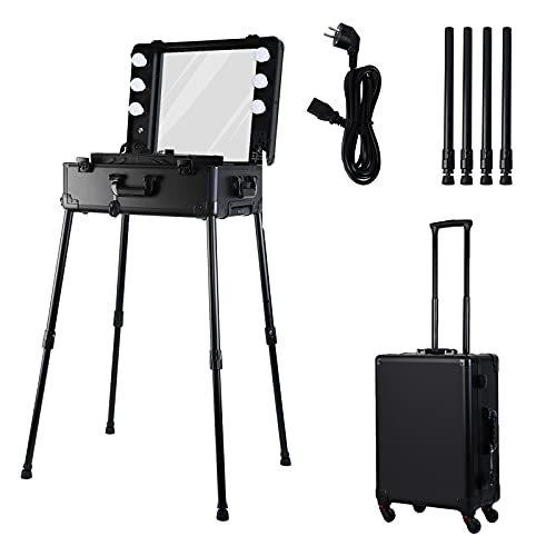 Ridgeyard Rolling Makeup Case with LED Mirror Light Height Adjustable Cosmetic Storage Luggage Makeup Train Case