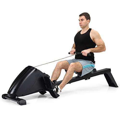GOPLUS Rudergerät mit Magnetbremssystem, Rudermaschine Klappbar, Ruderzugmaschine mit 10 Widerstandsstufen, Heimtrainer, Nutzergewicht bis 120 kg, Leise, Fitnessgerät für das Ausdauertraining zu Hause