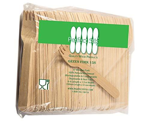 Perfect Stix Vert Fourchette 158–200 CT fourchettes jetables en bois, 15,2 cm de long (lot de 200)