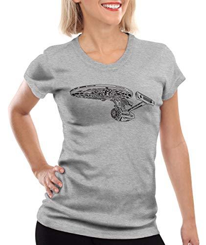 style3 Astronave I Camiseta para Mujer T-Shirt Trek Trekkie Star, Color:Gris Brezo, Talla:XL