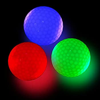 Glow Golf Balls LED Night Glow in The Dark Golf Balls Flashing Light up for Sport Multi Colors of Blue Green and Red-Pack of 3 with 3pcs Tees