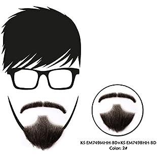 Vlasy Beard Mustache Human Hair Wig Bearded Hand Made Real Cosplay Beard 1 Set (EM749MHH+EM749BHH)