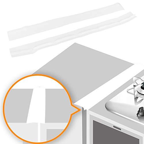 Cubiertas de silicona para estufas Cubierta de relleno de silicona fácil de rellenar para estufas, lavadoras, secadoras Cubierta de silicona para encimeras de estufa, paquete de 2(white, 25 inches)