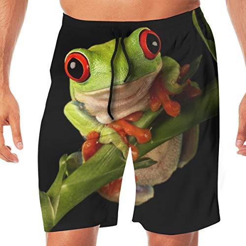 Herren Quick Dry Beach Shorts Badeanzug mit elastischer Taille Badeanzug EIN rotäugiger Laubfrosch - Sitzen auf einem Bambusstamm XXL