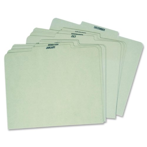 Globe Weis Month Guides, January to December, 1/3 Cut Center Tabs, Letter Size, Light Green (12PX91)