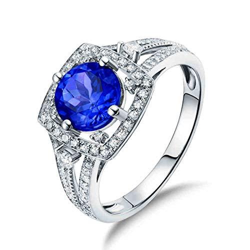 AnazoZ Anillos Mujer Tanzanita,Anillos Mujer Compromiso Oro Blanco 18 Kilates Plata Azul Cuadrado con Redondo Tanzanita Azul 1.53ct Diamante 0.36ct Talla 12