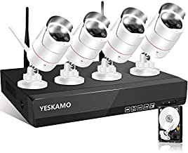 Outdoor WiFi Security Camera System 3MP Ultra-HD [Floodlight & 2 Way Audio & Siren Alarm], YESKAMO Spotlight IP Cameras AI Human Detection, 8CH Home Business Video Surveillance System with Hard Drive