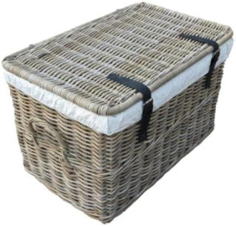 Rattankorb mit Deckel, Flechtkorb mit Deckel Truhe aus unbehandeltem Natur-Rattan, Rattantruhe, Grau, 62x38x38 cm (Small)