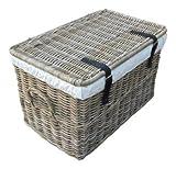SIDANO Cesta de ratán con cesto con Tapa, Tapa/baúl de Madera de Natural de Ratán, ratán baúl, Gris, 62x 38x 38cm
