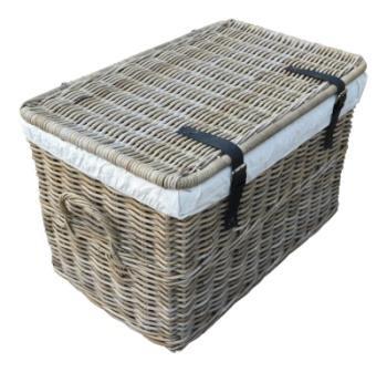 Cesta de mimbre con tapa, cesta con tapa, baúl de ratán natural sin tratar, color gris, 62 x 38 x 38 cm (pequeño)