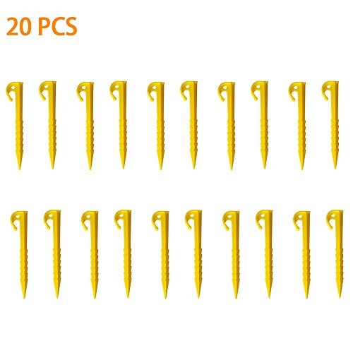kungfu Mall 20Pcs Tent Pegs Plastic Tent Nails with Bag Ultralight for Pitching Camping Tent Canopies, Farm Fix Pegs Garden Weed Mat Plastic Pegs