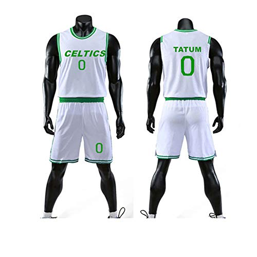 HS-XP Juego De Camiseta De Baloncesto del Niño, Celtics De Boston # 0 Jayson Tatum Kid's Basketball Uniform Malla De Uniforme De Secado Rápido Capacitación Uniforme Shorts,Blanco,5XL(Adult) 185~190CM
