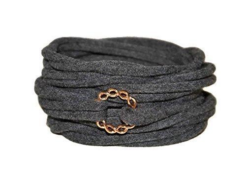 Wickelarmband in anthrazit mit Unendlichkeits-Ring - onesize