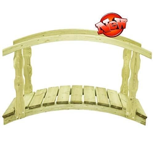 Jresboen Aktualisierte Version & Stärker Massivholz Gartenbrücke Holz Gewölbt mit Geländer, Rustikal Begehbar Holzbrücke Teichbrücke Brücke Holzsteg Zierbrücke Deko (Gewichtskapazität Bis Zu 150 Kg)