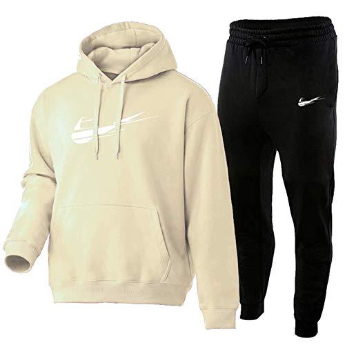 HUPAI Chandal Hombre Completo, Pantalon Chandal Hombre Y Chandal Hombre, 3D Impreso Jordan Negro Fashion Sportswear Adecuado para Calzado Deportivo (s-3xl) (Beige,S)