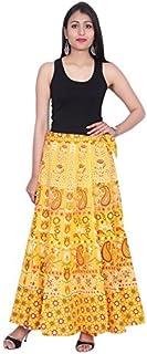 Kastiel Yellow Cotton Long Printed Sanganeri Jaipuri Winter Skirt for Woman's/Girls