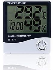 Timetided HTC-1, medidor electr¨®nico de temperatura y humedad LCD para interiores, term¨®metro digital, higr¨®metro, estaci¨®n meteorol¨®gica, reloj despertador