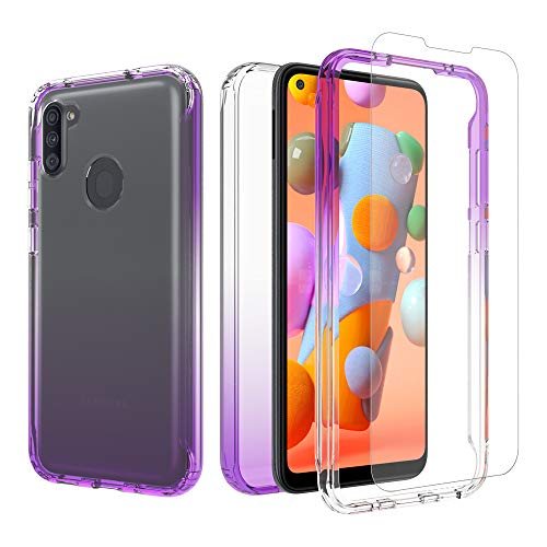 iRunzo 2 in 1 Hybrid Rugged Armor Case for Samsung Galaxy A11 Soft TPU Back Cover + PC Bumper Transparent Color-Changing 360° Full Body Protect (Purple)
