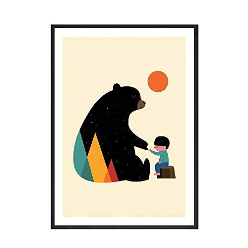 Póster para habitación de niños, póster de oso en color, habitación para niños y niñas, pintura en lienzo decorativa sin marco familiar B 40x60cm