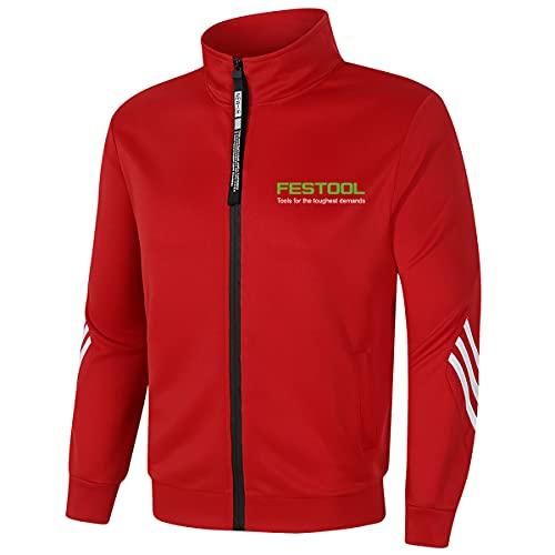 Chándal casual para hombre FES_Tool para hombre, con cremallera, cuello alto, ropa deportiva (rojo, XS)