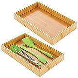 mDesign Cubertero para cajón de bambú – Caja de madera apilable para tenedores, cuchillos y espátulas – Organizador de cajones para utensilios de cocina – Juego de 2 – color natural