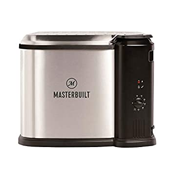 Masterbuilt MB20010118 Electric 3-in-1 Deep Fryer Boiler Steamer Cooker with Basket Adjustable Temperature and Built-In Drain Valve for Versatile Kitchen Fry Cooking Silver