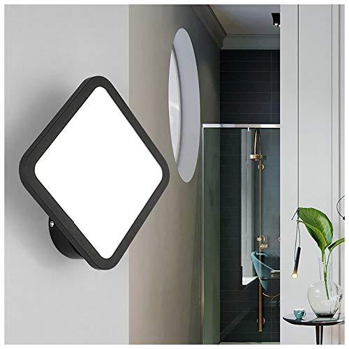 WLXJDJ Moderno LED Lámpara de Pared Interior, 13W Apliques de Pared Cuadrado Ultrafino Luz de Pared Metal Simple con Luz Blanco Frio 6000K para Sala de Estar Dormitorio Comedor Cocina Escalera, Negro