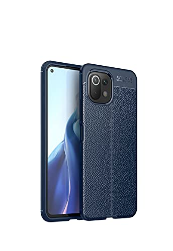 GOKEN Funda para Xiaomi Mi 11 Lite 5G | Mi 11 Lite, TPU Silicona Protección Carcasa, Bumper Caso Case Cover con Shock- Absorción & Patrón Cuero (No Cuero), Azul