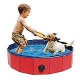Ruiry Piscina per cani, per cani di taglia grande, in PVC, pieghevole, per gatti, animali domestici, vasca da bagno, antiscivolo, resistente all'usura, con valvola di scarico, 80 x 20 cm