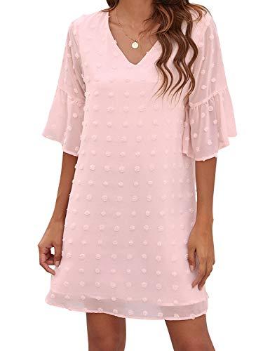 Blooming Jelly Womens Pink Dresses Short Sleeve V Neck Ruffle Cute Sun Dress Chiffon Flowy Shift Mini Dress (M,Pink)