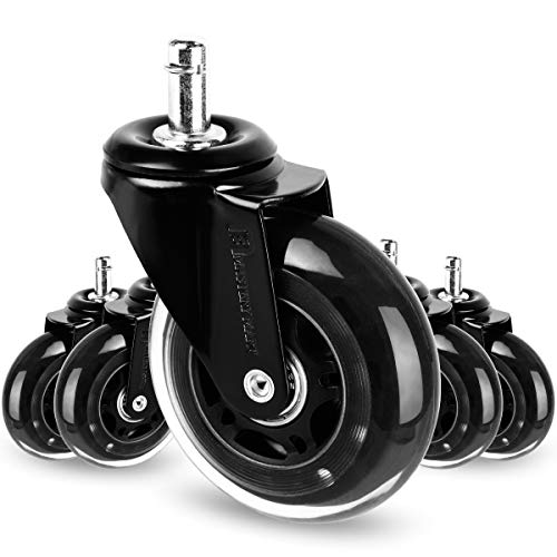 Mastery Mart Rollerblade Style Caster Wheels Replacement for Office Chair, Swivel Chair, Ultra Heavy Duty, Floor Protecting, IKEA Stem Size 10x22 mm, Quiet Smooth on Floors (Matte Black)